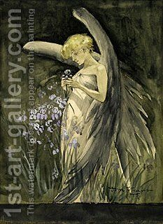 Fairy in Irises 1888 by Jasper Francis Cropsey - Reproduction Oil Painting