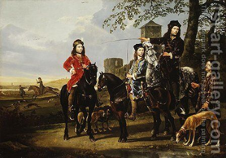 Starting for the Hunt Michiel and Cornelis Pompe van Meerdervoort with Their Tutor and Coachman by Aelbert Cuyp - Reproduction Oil Painting