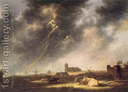 Thunderstorm over Dordrecht by Aelbert Cuyp - Reproduction Oil Painting