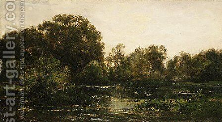 A River Landscape with Storks 1864 by Charles-Francois Daubigny - Reproduction Oil Painting