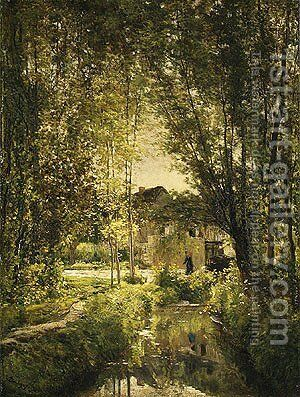 Landscape with a Sunlit Stream, ca 1877 by Charles-Francois Daubigny - Reproduction Oil Painting