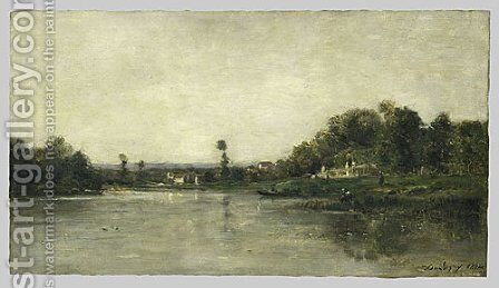 On the Banks of the Oise 1864 by Charles-Francois Daubigny - Reproduction Oil Painting