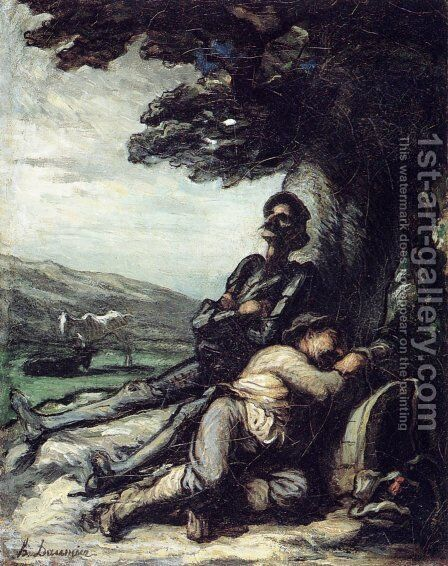 Don Quixote And Sancho Pansa Having A Rest Under A Tree 1855 by Honoré Daumier - Reproduction Oil Painting