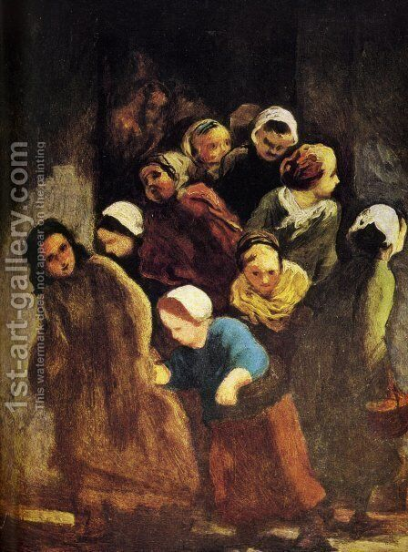 Leaving School 1847-48 Also Worked On In 1850 by Honoré Daumier - Reproduction Oil Painting