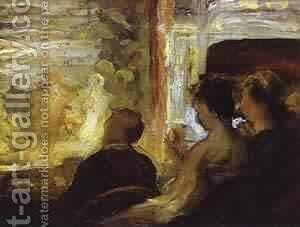 Theater Box 1865-1870 by Honoré Daumier - Reproduction Oil Painting