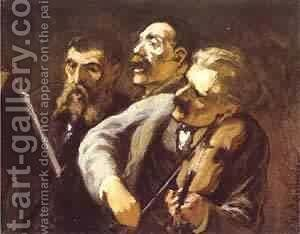 Three Amateur Musicians 1864-65 by Honoré Daumier - Reproduction Oil Painting
