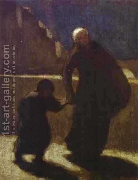 Woman And Child On A Bridge 1845-48 by Honoré Daumier - Reproduction Oil Painting