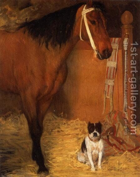 At the Stables Horse and Dog 1862 by Edgar Degas - Reproduction Oil Painting