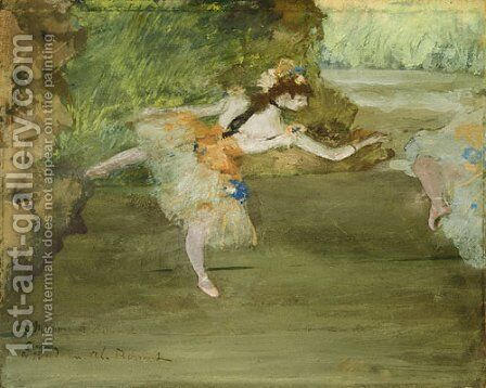 Dancer Onstage ca. 1877 by Edgar Degas - Reproduction Oil Painting