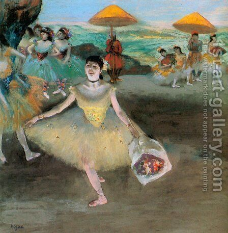 Dancer with a Bouquet Bowing 1877 by Edgar Degas - Reproduction Oil Painting