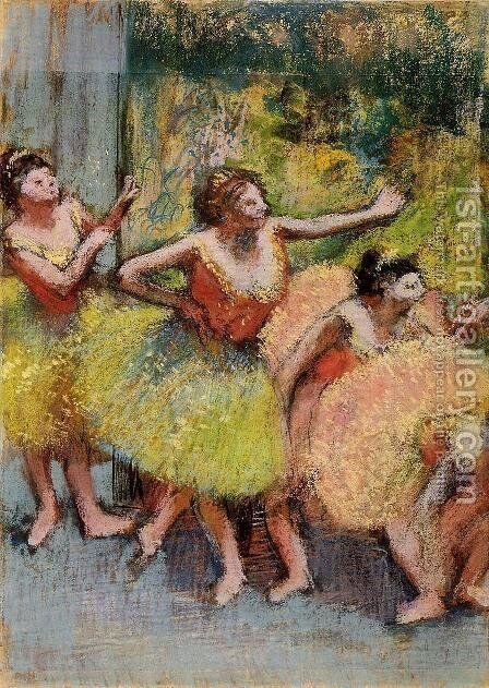Dancers in Green and Yellow 1899-1904 by Edgar Degas - Reproduction Oil Painting