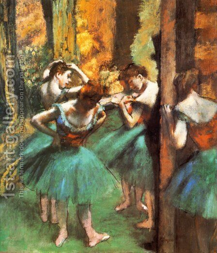 Dancers Pink and Green ca. 1890 by Edgar Degas - Reproduction Oil Painting