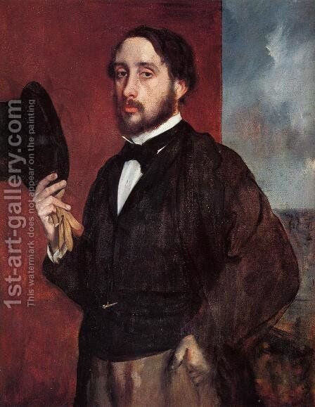Self Portrait Saluting 1865-1866 by Edgar Degas - Reproduction Oil Painting