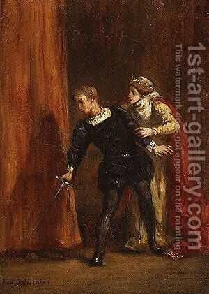 Hamlet and His Mother by Eugene Delacroix - Reproduction Oil Painting