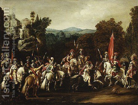 Departure of the Amazons 1620s by Claude Deruet - Reproduction Oil Painting
