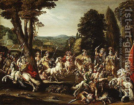 Triumph of the Amazons 1620s by Claude Deruet - Reproduction Oil Painting