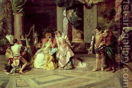 Galileo at the Court of Isabella 1878 by Cesare-Auguste Detti - Reproduction Oil Painting