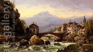 An Alpine Village by Charles Euphraisie Kuwasseg - Reproduction Oil Painting