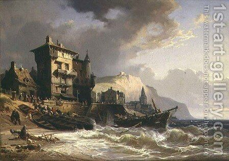Hauling the Boats ashore on the Coast of Brittany by Charles Euphraisie Kuwasseg - Reproduction Oil Painting