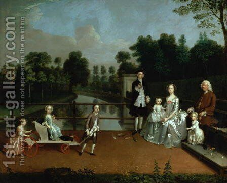 A Family Group on a Terrace in a Garden 1749 by Arthur William Devis - Reproduction Oil Painting