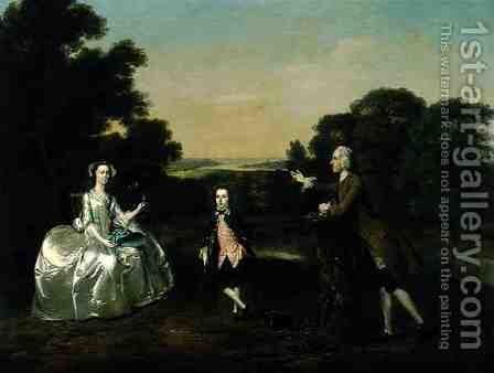 Mr and Mrs Van Harthals and Their Son 1749 by Arthur William Devis - Reproduction Oil Painting