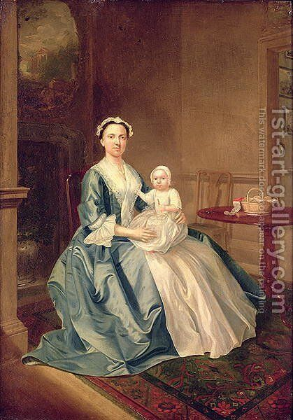 Portrait of a lady of the Lister family and Child by Arthur William Devis - Reproduction Oil Painting