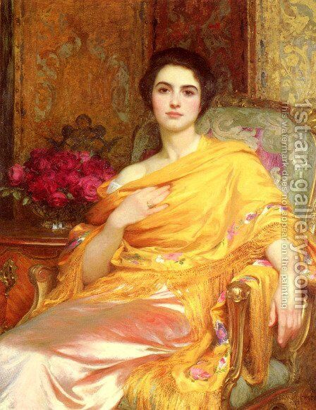 Portrait Of Elsa Daughter Of William Hall Esq by Sir Frank Dicksee - Reproduction Oil Painting