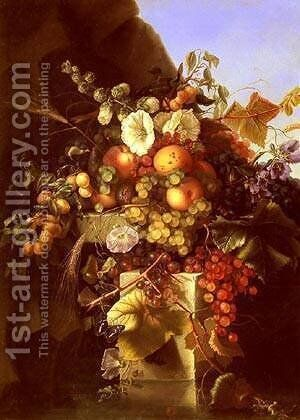Still Life With Grapes Peaches and Flowers by Adelheid Dietrich - Reproduction Oil Painting