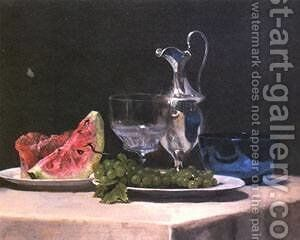 Still life study of silver glass and fruit by Jeno Gabor - Reproduction Oil Painting