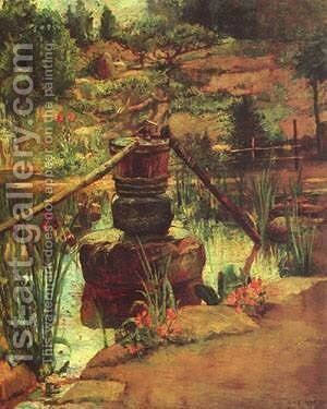 The Fountain in Our Garden at Nikko by Jeno Gabor - Reproduction Oil Painting