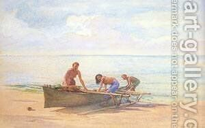 Women Drawing up a Canoe by Jeno Gabor - Reproduction Oil Painting