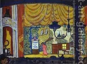 Denmark A Small Theatre 1912 by Mstislav Dobuzhinsky (Mstislavas Dobuzinskis) - Reproduction Oil Painting