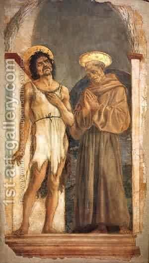 St John The Baptist And St Francis 1454 by Domenico Di Michelino - Reproduction Oil Painting