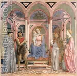 The Madonna And Child With Saints 1445 by Domenico Di Michelino - Reproduction Oil Painting