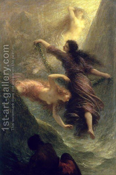 Rheingold first scene 1888 by Ignace Henri Jean Fantin-Latour - Reproduction Oil Painting