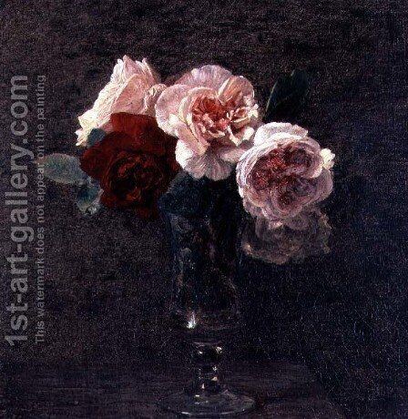 Still Life of Pink and Red Roses by Ignace Henri Jean Fantin-Latour - Reproduction Oil Painting