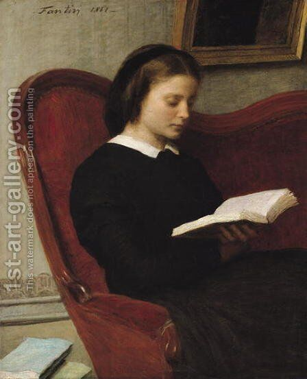 The Reader 1861 by Ignace Henri Jean Fantin-Latour - Reproduction Oil Painting