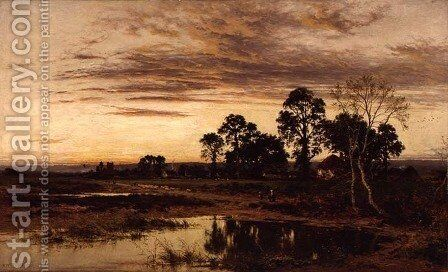 When Sun is Set A Worcestershire Village 1892 by Benjamin Williams Leader - Reproduction Oil Painting