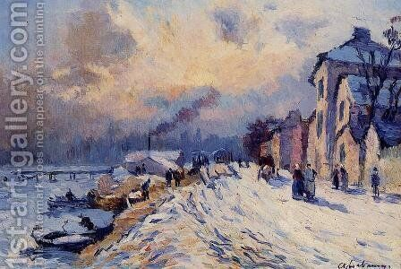 Near Rouen Snowy Weather by Albert Lebourg - Reproduction Oil Painting