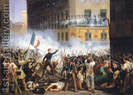 Battle in the rue de Rohan 28th July 1830 1830 by Charles Emile Hippolyte Lecomte-Vernet - Reproduction Oil Painting