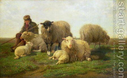 A Shepherd with Sheep and Lambs by Cornelis van Leemputten - Reproduction Oil Painting