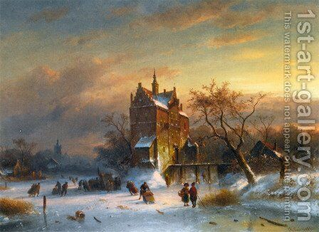 Skaters Near A Castle by Charles Henri Joseph Leickert - Reproduction Oil Painting