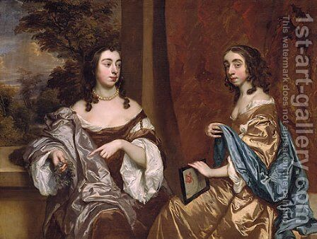 Mary Capel Later Duchess of Beaufort and Her Sister Elizabeth Countess of Carnarvon by Sir Peter Lely - Reproduction Oil Painting