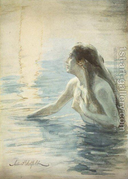 In the water by Albert Edelfelt - Reproduction Oil Painting