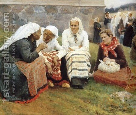 The gossip by Albert Edelfelt - Reproduction Oil Painting