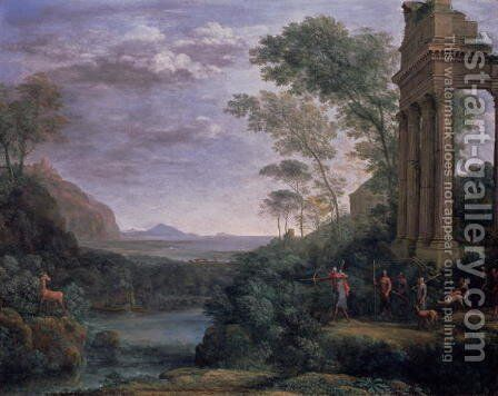 Landscape with Ascanius Shooting the Stag of Sylvia by Claude Lorrain (Gellee) - Reproduction Oil Painting