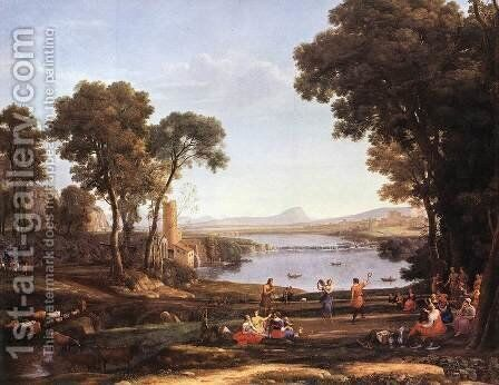 Landscape with Water Mill by Claude Lorrain (Gellee) - Reproduction Oil Painting