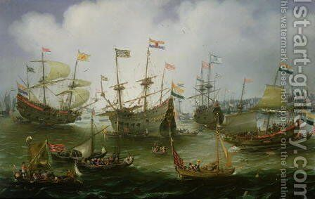 The Return to Amsterdam of the Fleet of the Dutch East India Company in 1599 by Andries Van Eertvelt - Reproduction Oil Painting