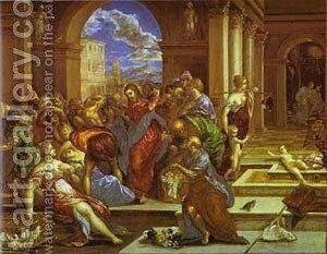 Christ Driving The Traders From The Temple 1570 by El Greco - Reproduction Oil Painting