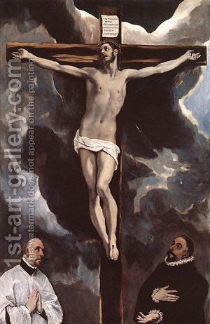 Christ On The Cross Adored By Donors 1585-90 by El Greco - Reproduction Oil Painting
